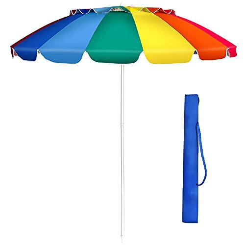 GIANTEX 243 cm Sonnenschirm, Strandschirm mit Verankerung, neigbarer Gartenschirm Terrassenschirm, Marktschirm mit Tragetasche, Schirm rund Sonnenschutz UV50+ (Bunt)