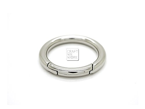 CRAFTMEmore 2PCS O Rings Snap Clip Trigger Spring Opening Keyring Buckle Purse Hardware ROO-16 (5/8 inch, Silver)