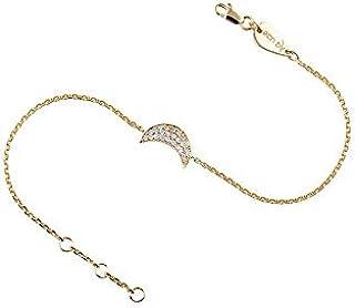 خلخال من الذهب 18 قيراط بحلية على شكل قمر مزين بالماس