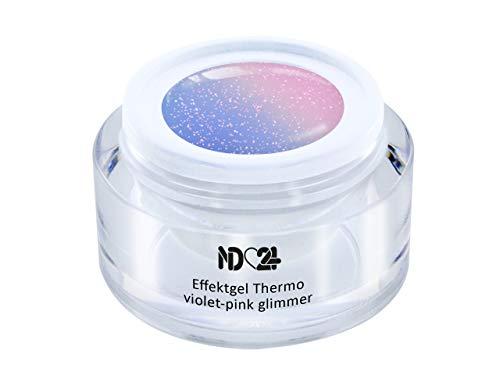 5ml - UV LED Effekt-Gel THERMO violet-pink GLIMMER - Effekt Gel Naildesign FarbgGel NagelGel für Nageldesign Modellage - Nail Art Gel - Studio Qualität - MADE IN GERMANY