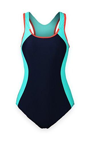 ReliBeauty Women's Backless Splice One Piece Swimsuit (XXX-Large(US14-16), Navy)