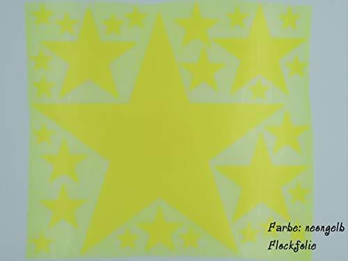 Bügelbild, Motiv: Sterne, Farbe: neongelb, Setgröße: maxi, heißsiegelfähige Flockfolie auf Basis von Viskosefasern