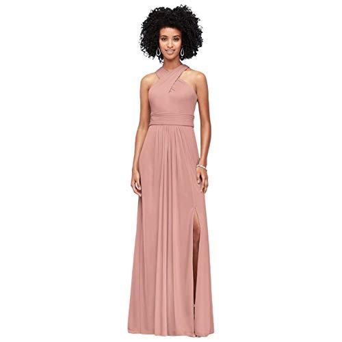 David's Bridal Crisscross High-Neck Mesh Bridesmaid Dress Style F19952, Dusty Blue, 22