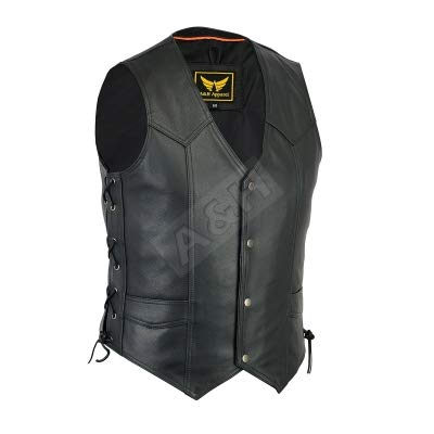 A&H Apparel Mens Motorcycle Genuine Cowhide Leather Biker Concealed Carry Durable Vest (XX-Large)