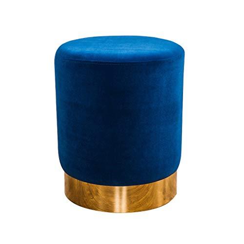 フットスツールランタン形状真鍮装飾高級ベルベットソフトタッチスツールドレッシングテーブルプーフシートメイクオスマンフットレスト (色 : 青)