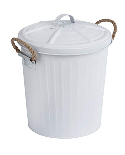 WENKO Kosmetikeimer Gara Weiß matt - Abfalleimer Fassungsvermögen: 6 l, Stahl, 24 x 28.5 x 23 cm, Weiß