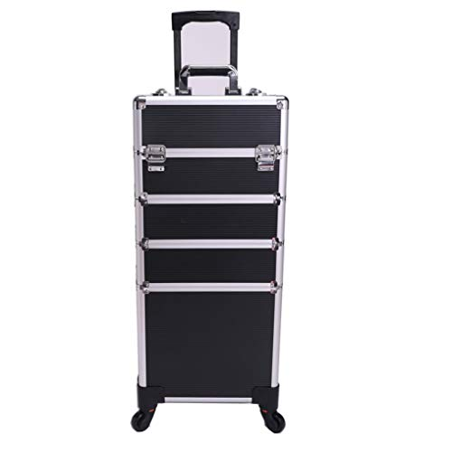 Lamshine Professional Extra Large Cosmetics Beauty Makeup Trolley Case Universal Wheels 4 in 1 (Black)