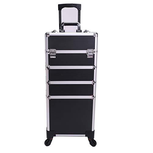 Lamshine professionale extra large cosmetici bellezza trucco trolley caso universale ruote 4 in 1 (nero)