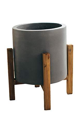 Teramico Blumentopf Pflanzgefäß Cylinder 20cm + 30cm + 40cm mit Holzfuß/Standfuß in Grau und Anthrazit sehr modern und stylisch (30cm, GRAU)