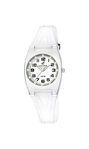 Calypso K6042/A – Reloj analógico para Dama con Pantalla Blanca y Correa
