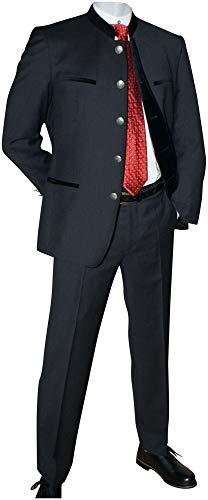 Lodenfrey Anzug Trachten Sakko Jacke u. Hose festlicher Trachtenanzug Janker Festtracht Trachtenjanker mit Samt, festlich für Hochzeit oder Diner Ball Fest Reine Schurwolle, Größe:52