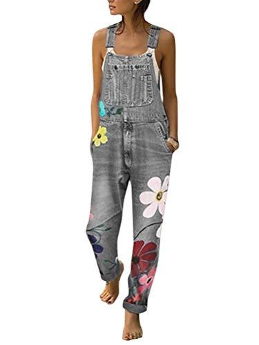 Tomwell Jeanslatzhose Damen Latzhose Jeans Hose Vintage Loose fit Jumpsuit Overall Blumen Denim Playsuit Romper A Grau 40