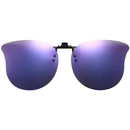 CAXMAN Polarized Cat Eye Clip On Sunglasses Over Prescription Glasses for Women UV Protection Flip Up Purple Mirrored Lens