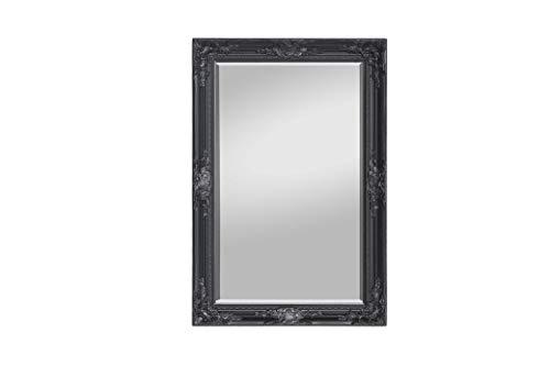 Espejo Negro - Madera sólida - Shabby Chic Espejo Grande 90 x 60 cm - Negro