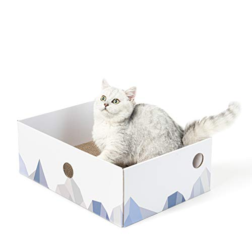 Conlun Cat Scratcher Box with Cat Scratching Pad Portable 3-Layer Corrugated Cardboard Lounger Heavy-Duty Double-Sided Cardboard Cat Scratcher and Interactive Hole Design White Large
