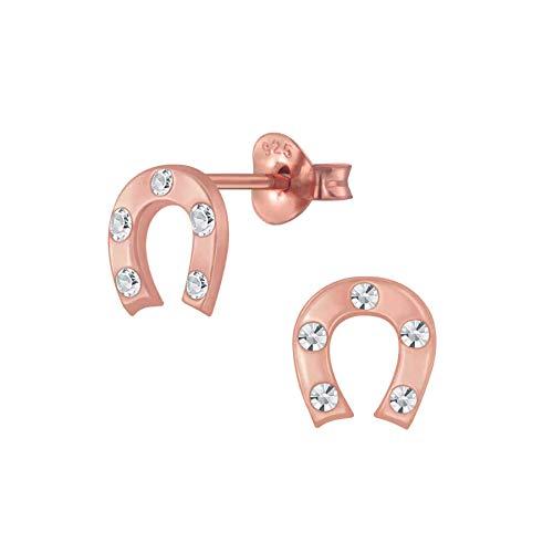 FIVE-D orecchini a forma di ferro di cavallo in argento Sterling 925 in astuccio (oro rosa – pietra bianca)