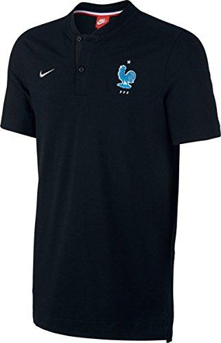 NIKE FFF M NSW Modern GSP AUT Polo de Manga Corta Federación Francesa de Fútbol, Hombre, Negro (Black/Metallic Silver)