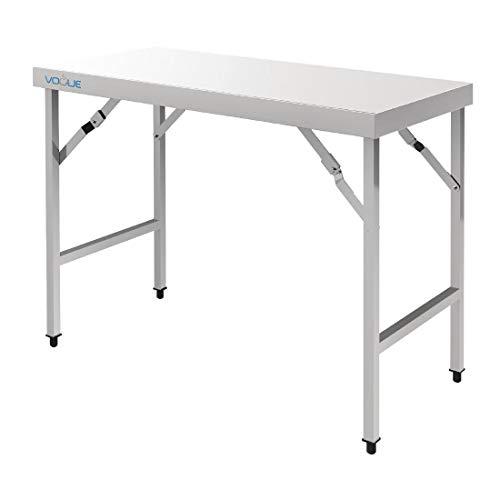 Vogue Grande table pliante en acier inoxydable pour jardin, fête, restauration
