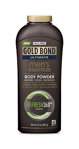 Gold Bond Men's Essentials Talc-Free Body Powder 10 oz, Refresh 360 Scent, Wetness Protection