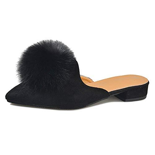 CNDY Zapatillas de casa Casuales, Zapatillas de Mujer Zapatillas de Bola de Pelo de otoño Invierno Media Pantufla Puntiaguda