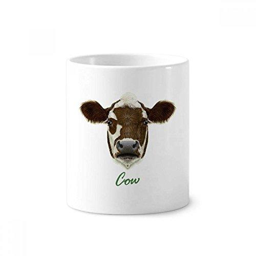 brown-and-white Domestic Milchprodukte Kuh Tier Keramik Zahnbürste Stifthalter Becher weiß Tasse 350ml Geschenk