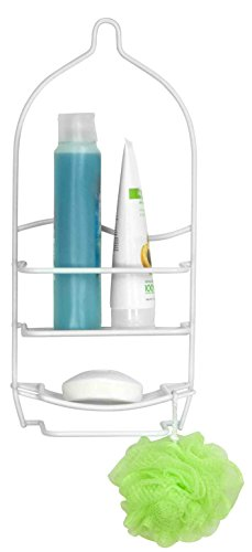 Home Basic Shower Caddy Vinyl Coated, Shampoo, Conditioner, Loofah and Soap Holder, White