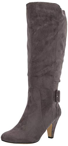 Bella Vita Women's Troy II Plus Dress Wide Calf Boot Knee High, Grey Super Suede, 10 2W US