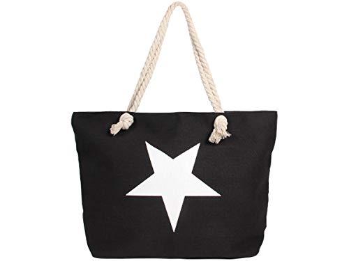 Alsino Borsa da Spiaggia   Grande   55 x 38 cm   Nero con Stella   con Chiusura Zip   Shopper   Capiente   Tote