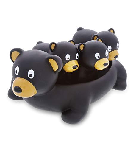 Dollibu Black Bear Family Animal Bath Squirters 4 Piece Bath Toy Set  Children Bath Toys for Bathtime & Water Fun  Girls & Boys Floating Cute Animal Rubber Squirt Toys  Pool Toys for Kids - Black Bear