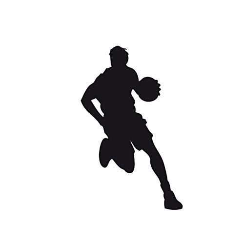 DSRLO Autoaufkleber 8.9 * 14.3Cm kreativer Basketball-Spieler, der das Vinylauto-Aufkleber-Auto-Oberflächen-Schwarz- / Silber dribbelt