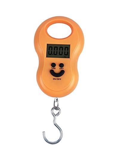 Mengshen Bilancia pesapersone Digitale da Viaggio Bilancia per valigie per Gru 110lb / 50kg Display LCD retroilluminato con Gancio Portatile da Viaggio per la Caccia in Fabbrica all'aperto Arancia