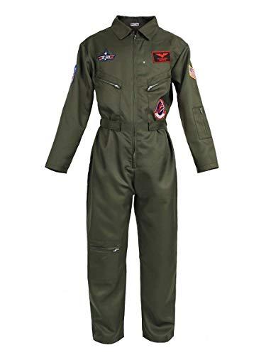 CoolChange Fliegerkombi Top Gun, Kampfpiloten Overall Kostüm, Olivegrün, Größe: L