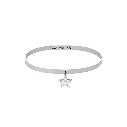 Ouran Star/Four Leaf Clover Pendant Bangle Bracelet for Women,Adjustable Charm Rose Gold and Silver Plated Stainless Steel Cuff Wrist Bracelet with Crystal