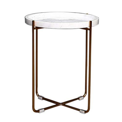 YUMEIGE-MESAS Mesa lateral de acento de mármol de 16.53 pulgadas con una base con forma x, mesa lateral de la cama, para la sala de estar y el dormitorio ( Color : White , Size : 16.53*16.53*20.47in )