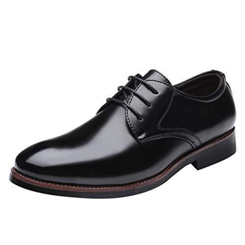 Herren Business Anzugschuhe Spitzschuhe England Stil,Vintage Schnürhalbschuhe Leder Schwarz Mode Männer Business Hochzeit Schuhe Abendkleid (46 EU, Schwarz)