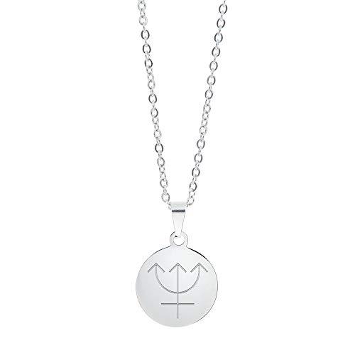 Gravado Halskette aus Edelstahl mit Kreisanhänger und Planet Gravur, Mit Karabinerverschluss, Damen Schmuck, inkl. Geschenkbox