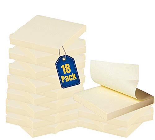 "1InTheOffice Yellow Sticky Notes, 3"" x 3"" Yellow self Stick Sticky Notes 18/Pack of 100= 1800 Notes Pads (18)"