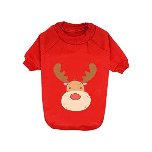 PONNMQ Vêtements pour Animaux de Compagnie vêtements Chauds Hiver Chiot Sweatshirt élan de Noël Teddy Chihuahua Tenue à Manches Longues épaississement t-Shirt à 2 Pattes pour D, R, S