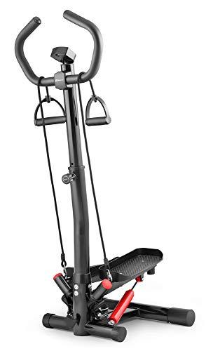 Hop-Sport Swing Side Stepper HS-055S mit verstellbarem Haltegriff Trainingsbändern Computer verstellbare Tritthöhe (Schwarz-rot)