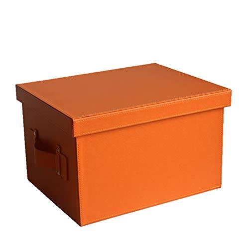 JINTIANSDS Rectángulo De Cuero Caja De Almacenaje con Tapa De Mango,Portátil Gran Capacidad Caja De Almacenamiento,Durable Estilo Bolsa De Almacenamiento para Ropa De Juguete-Naranja 37.5x30x23.5cm