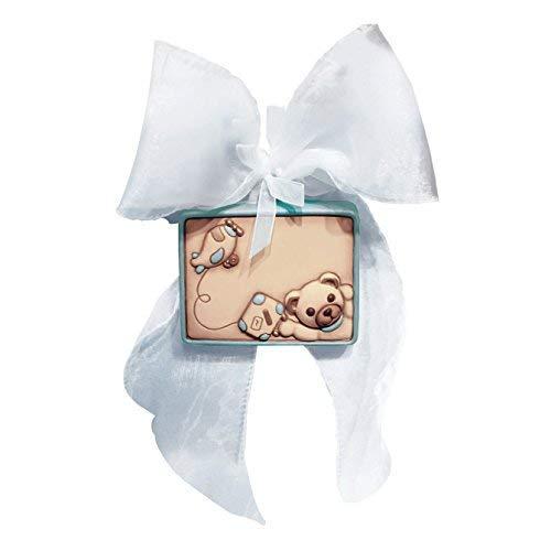 THUN® - Coccarda Nascita con Fiocco e Orsacchiotto da Appendere - Ceramica - Linea Teddy Lui