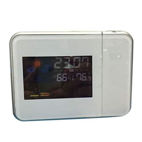 ZYElroy Wettervorhersage Projection Elektronisches Wetter Uhr Snooze-Funktion Wecker-Farbbildschirm Kalender