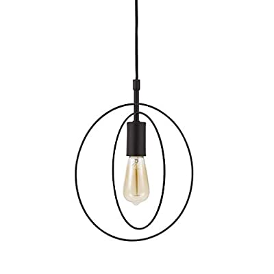 Rivet Aldrin Plug in 1-Light Geometric Satin Brass Swag Pendant with Edison Bulb