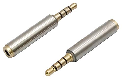 AAOTOKK 3.5mm Headphone Adapter (1/8 inch) 4-Pole 3.5mm Male to Female Jack Stereo Audio Converter Metal Shell for Headset, Audio Earphone, Microphone (2 Pack-3.5mm M/F)