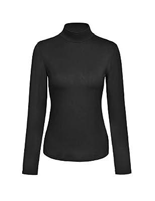 KLOTHO Womens Long Sleeve Mock Turtleneck Lightweight Slim Active Shirt Black Small
