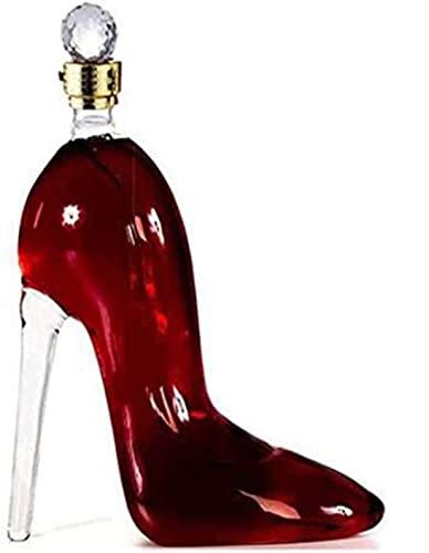 Decantador de Whisky Vasos de Whisky 750 ml Decantador de Vino Exquisito, Forma de Tacones Altos Aireador decantador de Vidrio soplado a Mano 100% sin Plomo para Vidrio Artesanal Brandy Tequ