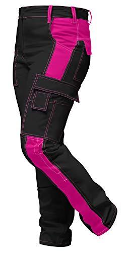 strongAnt Damen Arbeitshose komplett Stretch für Frauen Bundhose mit Kniepolstertaschen - Made in EU - Schwarz-Pink. Größe: 42