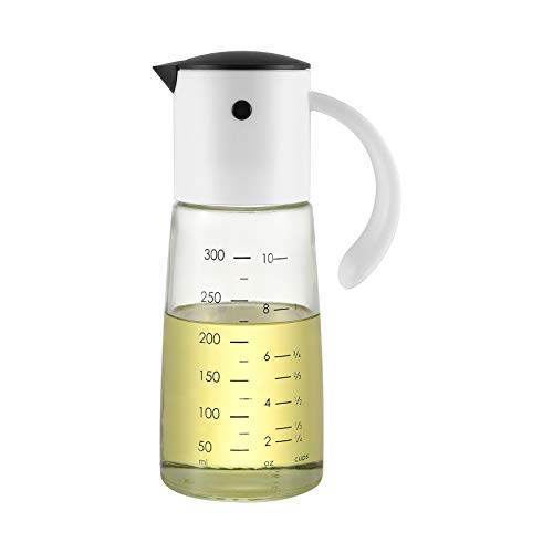 vkchef オイルボトル 醤油差し 液だれしない 片手 調味料入れ 油入れ ドレッシングボトル 調味料 ビン オイル差し 醤油 酢 ビネガー オイルスプレー オイル 容器 オイルスプレー 300ml白い 料理用 ギフト