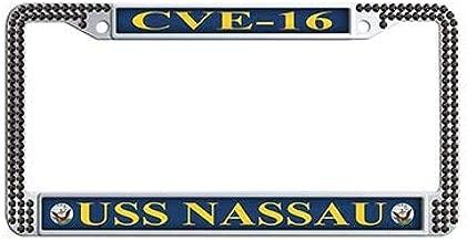 Dongsmer USS Nassau CVE-16 Auto License Cover Holder Black Rhinestones License Plate Covers