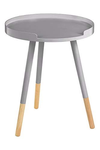 Premier Housewares Round Small Side Table Small Outside Table Small Outdoor Table Side Table MDF Grey Table Wood Narrow Side Table 49 x 40 x 40 cm